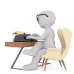 écrivain-biographe au travail (représentation non contractuelle)