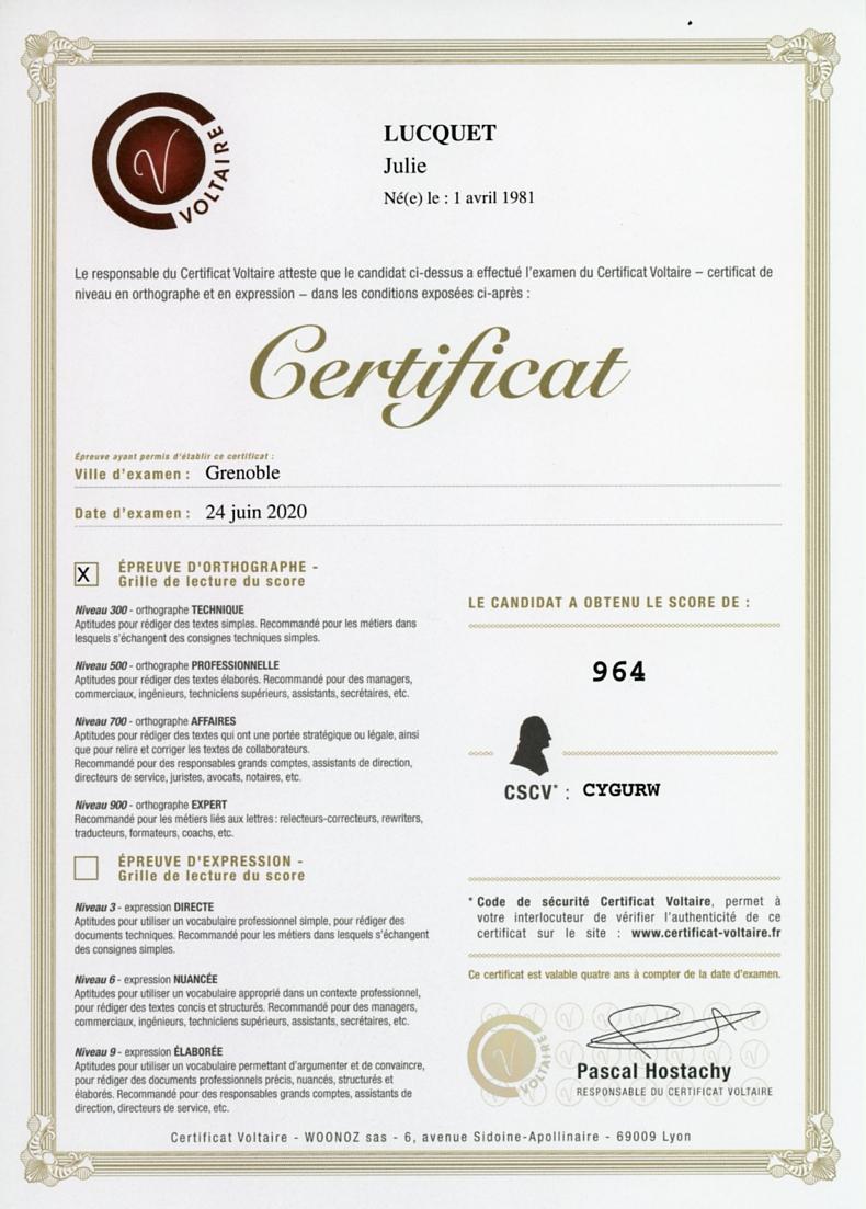 Diplôme-Certificat-Voltaire-Julie-Lucquet-écrivain-biographe